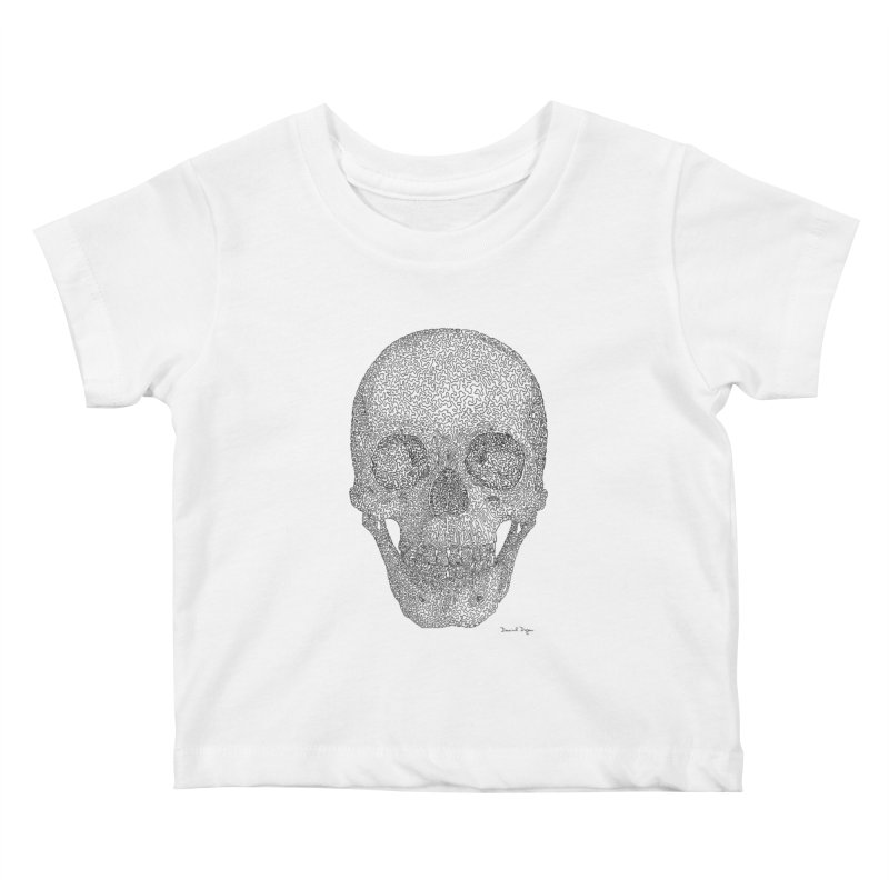 Skull - One Continuous Line Kids Baby T-Shirt by Daniel Dugan's Artist Shop