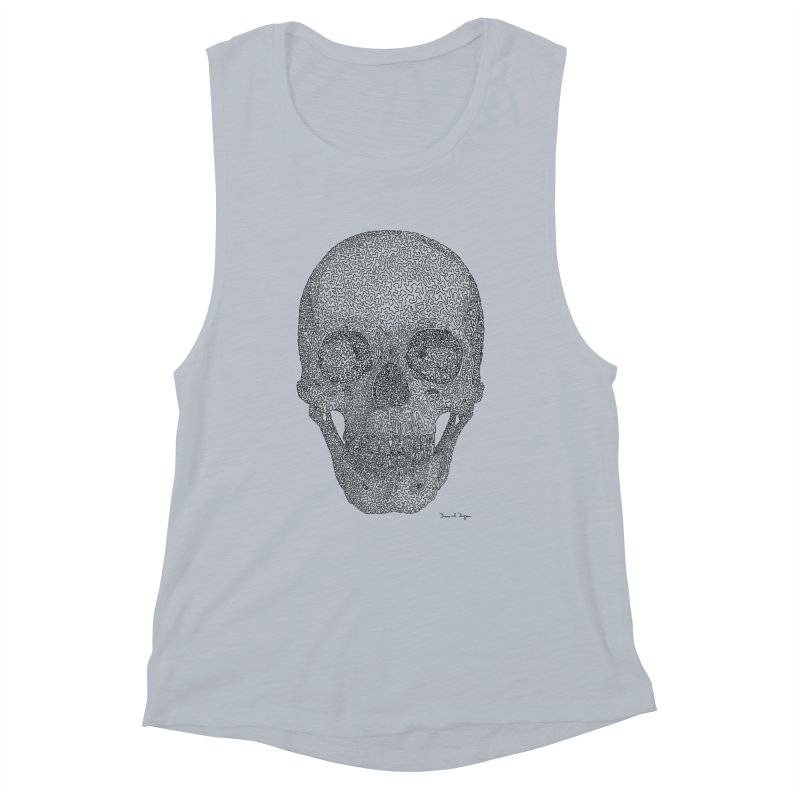 Skull - One Continuous Line Women's Muscle Tank by Daniel Dugan's Artist Shop