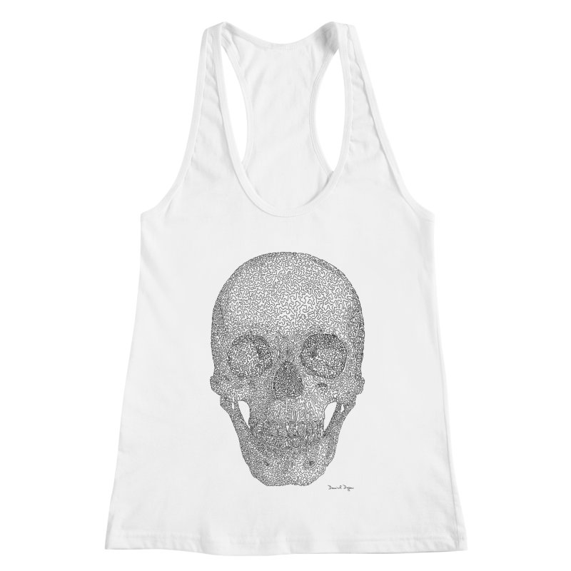 Skull - One Continuous Line Women's Racerback Tank by Daniel Dugan's Artist Shop