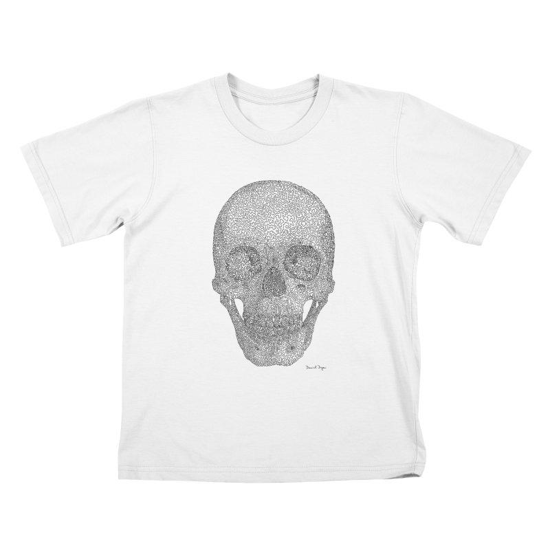 Skull - One Continuous Line Kids T-Shirt by Daniel Dugan's Artist Shop