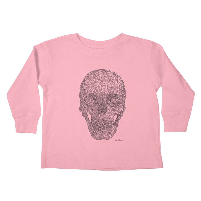 Skull - One Continuous Line Kids Toddler Longsleeve T-Shirt by Daniel Dugan's Artist Shop
