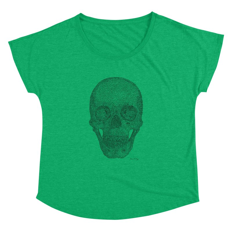 Skull - One Continuous Line Women's Dolman Scoop Neck by Daniel Dugan's Artist Shop