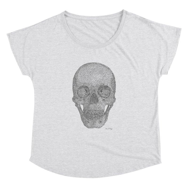 Skull - One Continuous Line Women's Dolman Scoop Neck by Daniel Dugan's Artist Shop