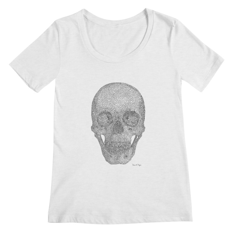 Skull - One Continuous Line Women's Scoop Neck by Daniel Dugan's Artist Shop