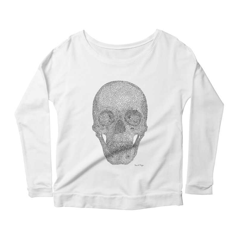 Skull - One Continuous Line Women's Scoop Neck Longsleeve T-Shirt by Daniel Dugan's Artist Shop