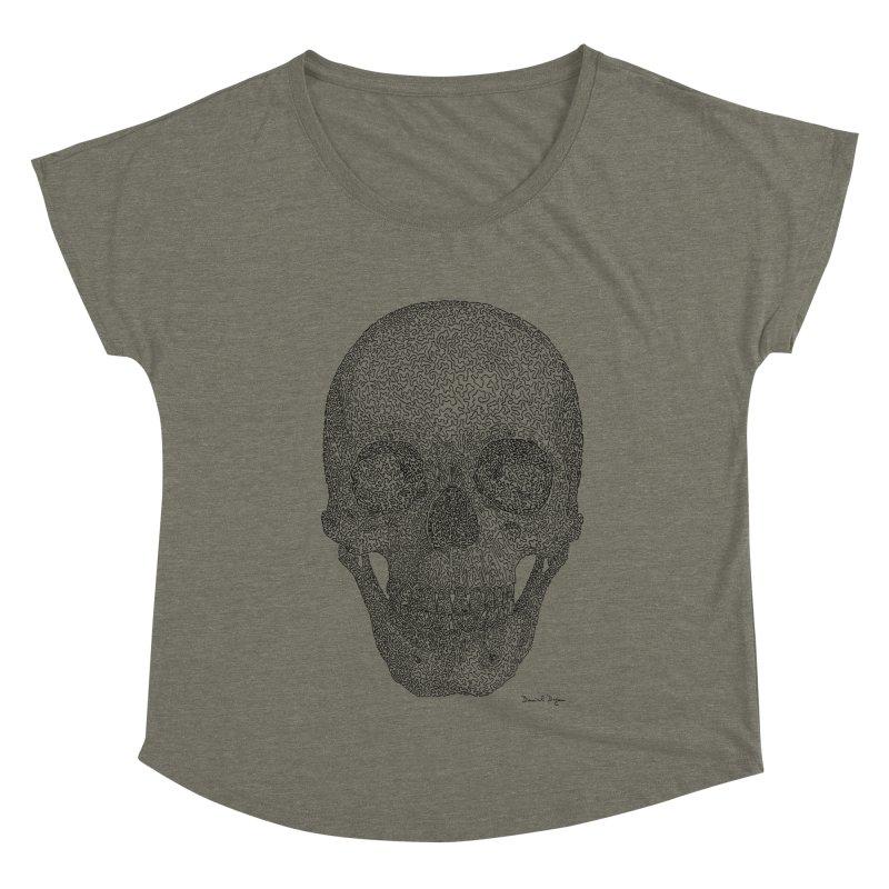 Skull - One Continuous Line Women's Scoop Neck by Daniel Dugan's Artist Shop
