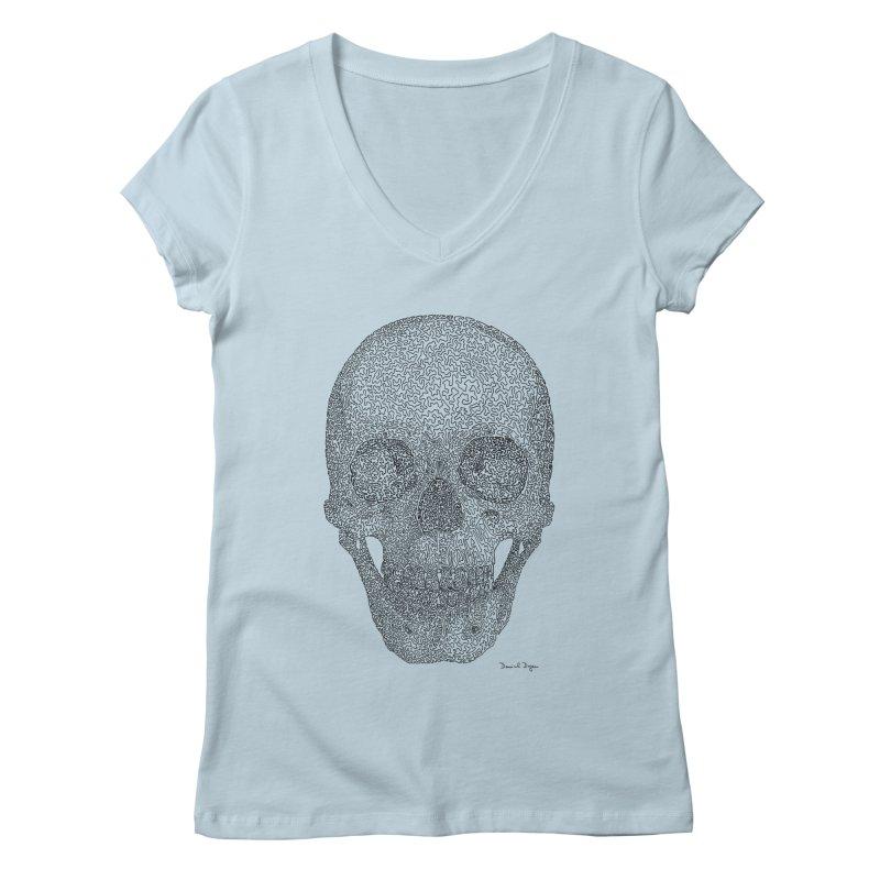 Skull - One Continuous Line Women's V-Neck by Daniel Dugan's Artist Shop