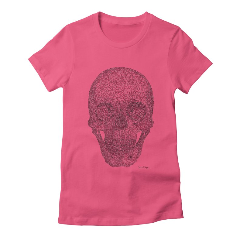 Skull - One Continuous Line Women's Fitted T-Shirt by Daniel Dugan's Artist Shop