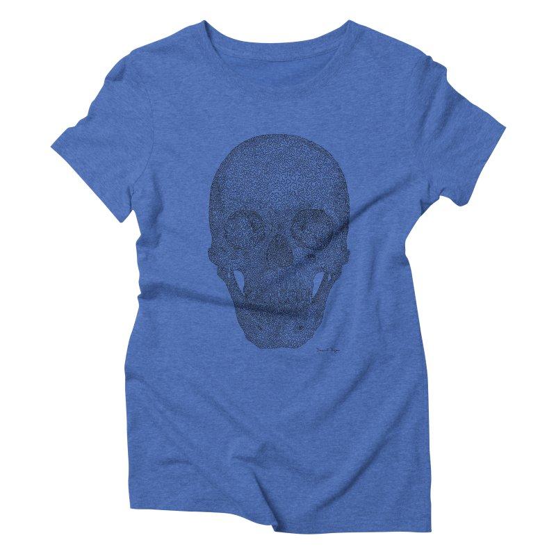 Skull - One Continuous Line Women's Triblend T-Shirt by Daniel Dugan's Artist Shop