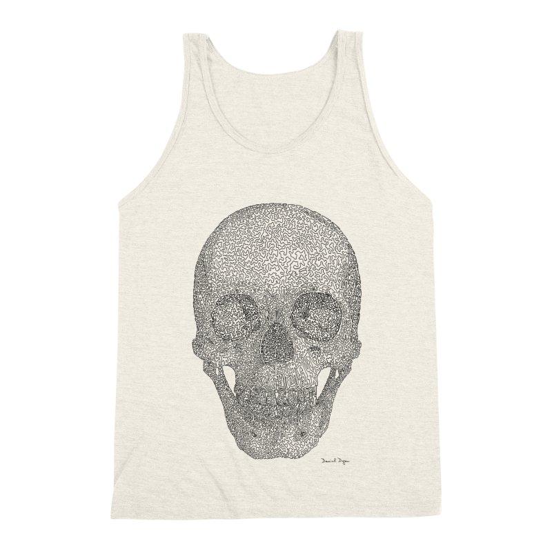 Skull - One Continuous Line Men's Triblend Tank by Daniel Dugan's Artist Shop