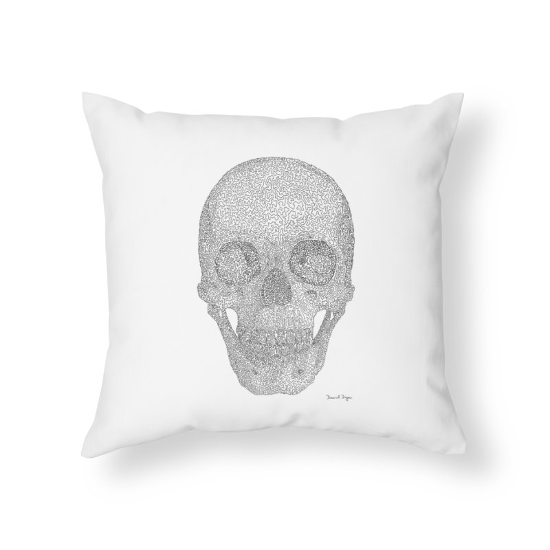 Skull (Black) - One Continuous Line Home Throw Pillow by Daniel Dugan's Artist Shop
