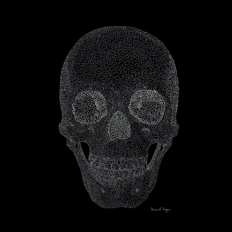 Skull (White) - One Continuous Line Home Tapestry by Daniel Dugan's Artist Shop