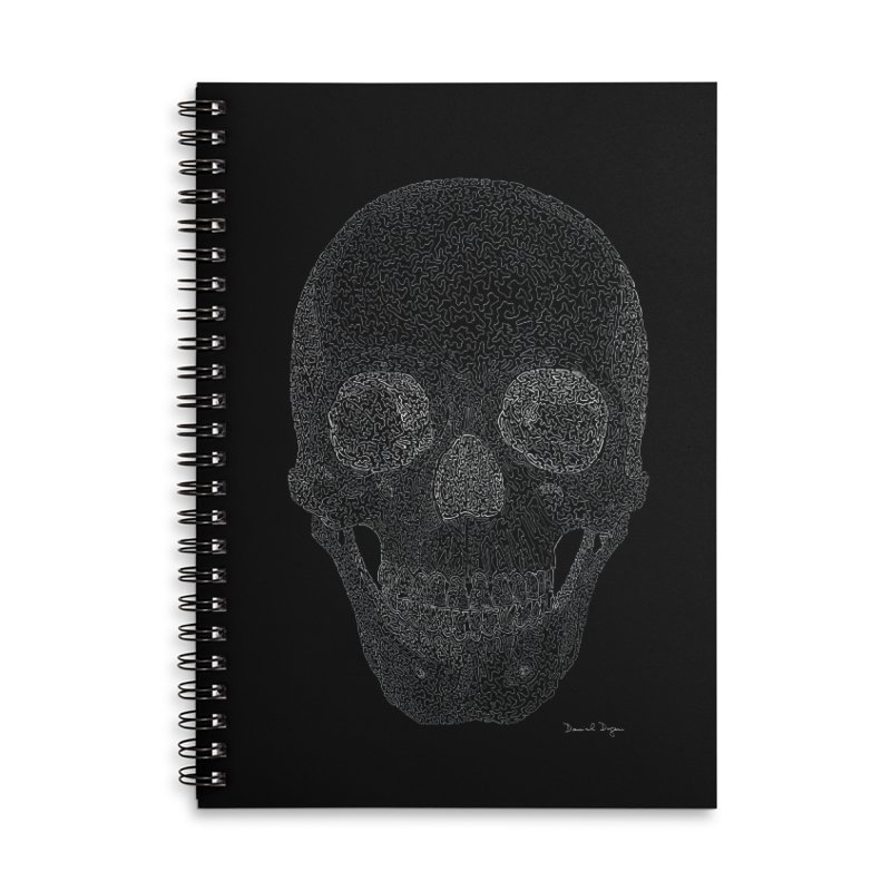 Skull (White) - One Continuous Line Accessories Lined Spiral Notebook by Daniel Dugan's Artist Shop