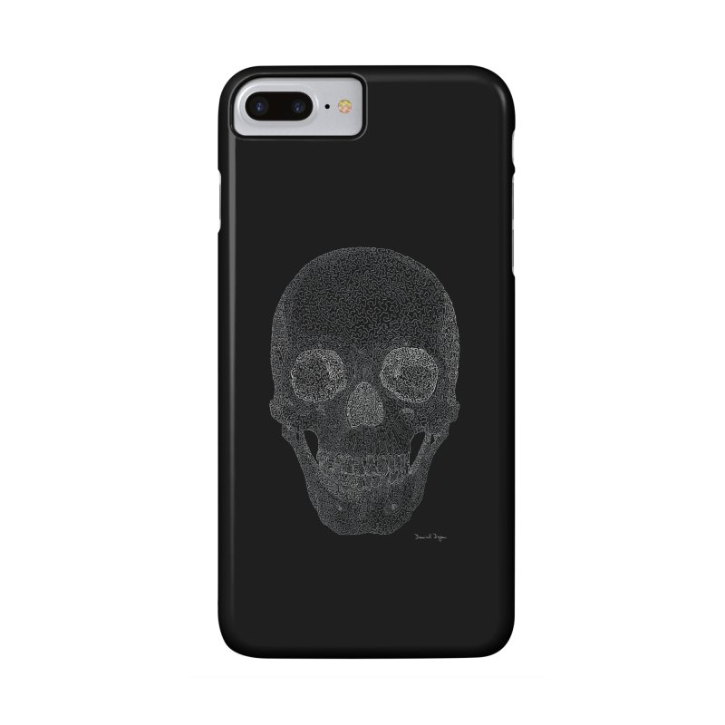 Skull (White) - One Continuous Line Accessories Phone Case by Daniel Dugan's Artist Shop