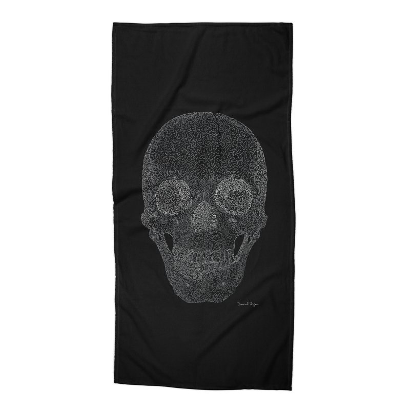 Skull (White) - One Continuous Line Accessories Beach Towel by Daniel Dugan's Artist Shop