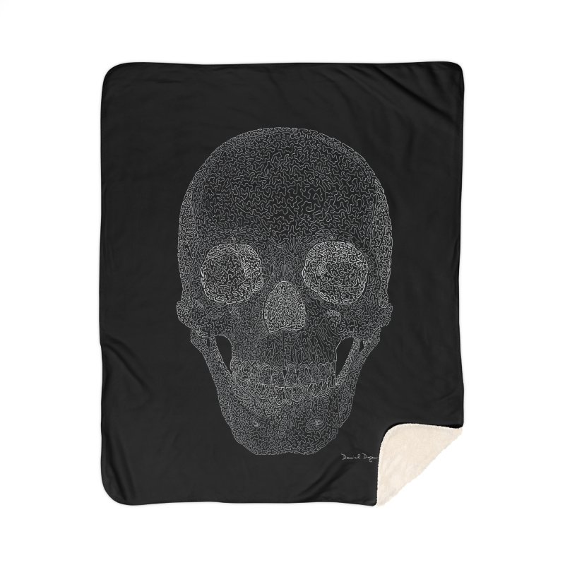 Skull (White) - One Continuous Line Home Sherpa Blanket Blanket by Daniel Dugan's Artist Shop