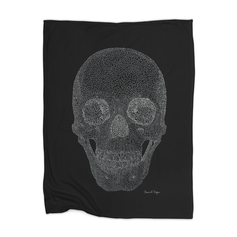Skull (White) - One Continuous Line Home Blanket by Daniel Dugan's Artist Shop
