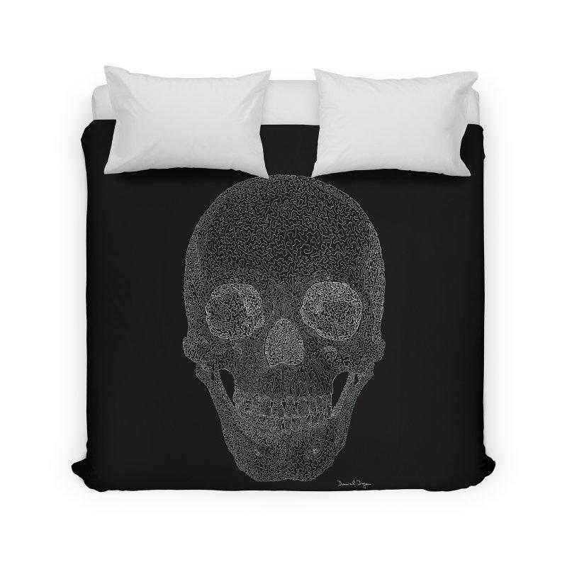 Skull (White) - One Continuous Line Home Duvet by Daniel Dugan's Artist Shop