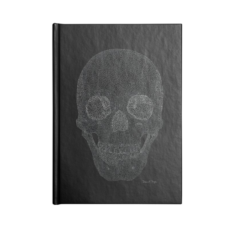 Skull (White) - One Continuous Line Accessories Lined Journal Notebook by Daniel Dugan's Artist Shop