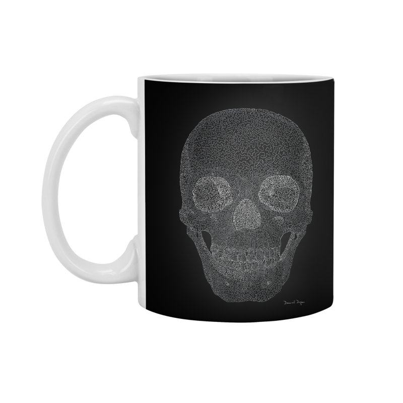 Skull (White) - One Continuous Line Accessories Standard Mug by Daniel Dugan's Artist Shop