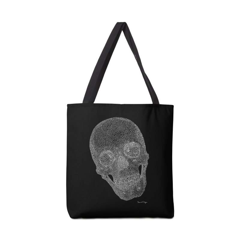 Skull (White) - One Continuous Line Accessories Tote Bag Bag by Daniel Dugan's Artist Shop