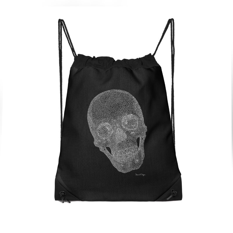 Skull (White) - One Continuous Line Accessories Drawstring Bag Bag by Daniel Dugan's Artist Shop