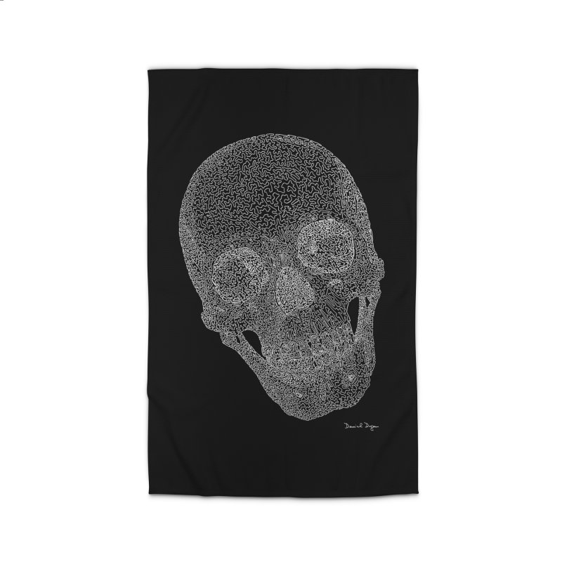 Skull (White) - One Continuous Line Home Rug by Daniel Dugan's Artist Shop