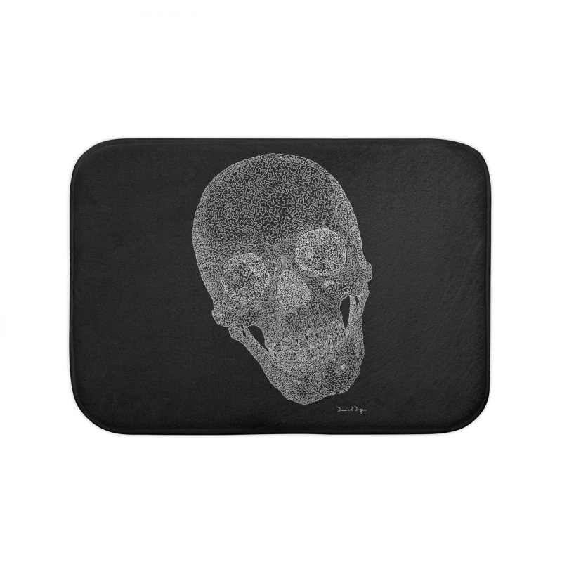 Skull (White) - One Continuous Line Home Bath Mat by Daniel Dugan's Artist Shop
