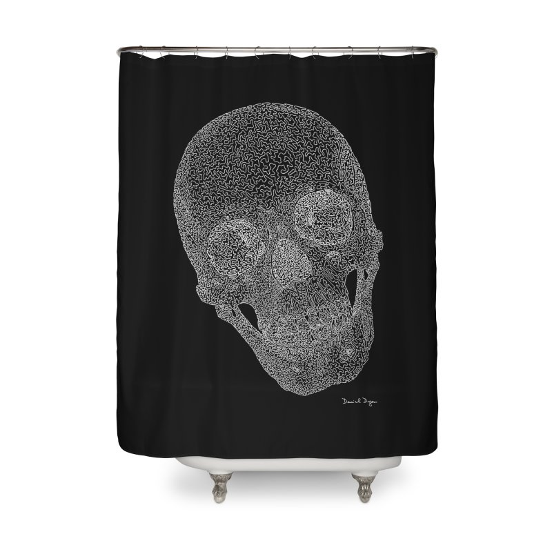 Skull (White) - One Continuous Line Home Shower Curtain by Daniel Dugan's Artist Shop