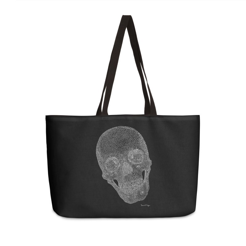 Skull (White) - One Continuous Line Accessories Weekender Bag Bag by Daniel Dugan's Artist Shop
