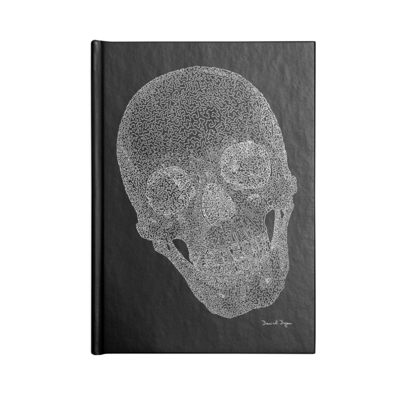 Skull (White) - One Continuous Line Accessories Blank Journal Notebook by Daniel Dugan's Artist Shop