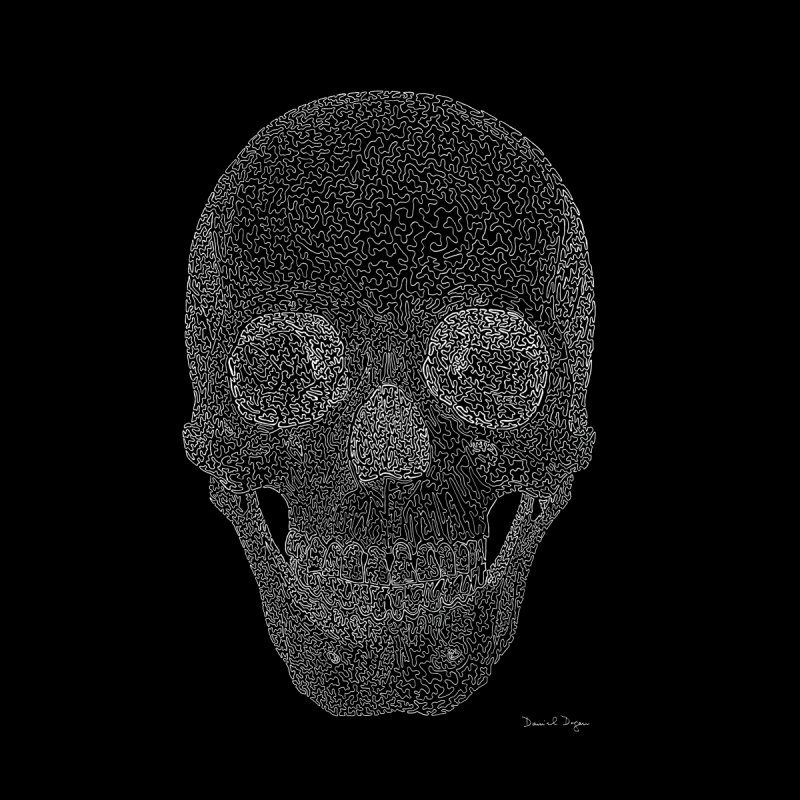 Skull (White) - One Continuous Line None  by Daniel Dugan's Artist Shop