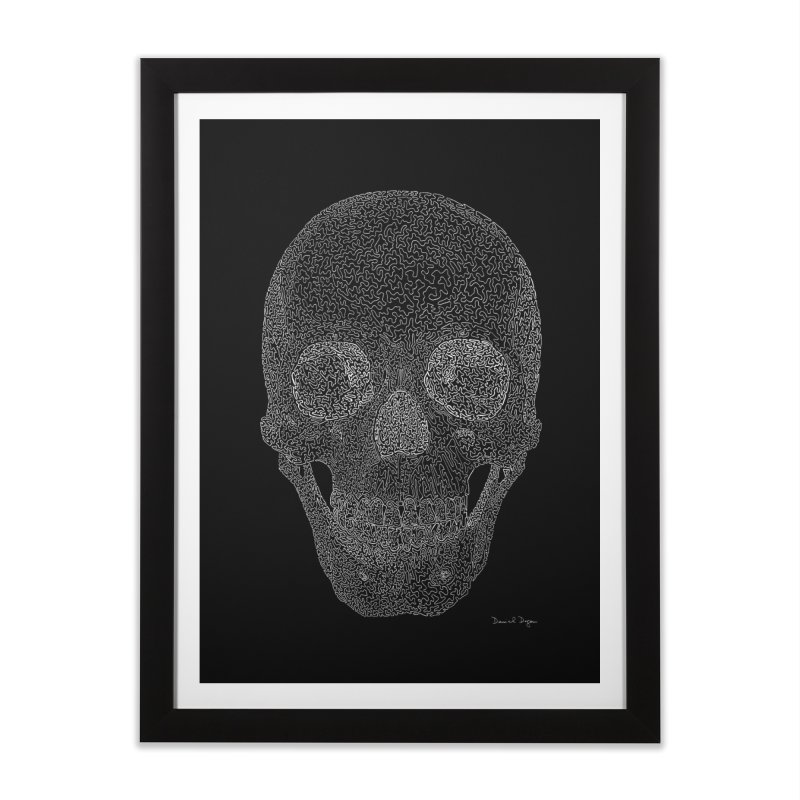 Skull (White) - One Continuous Line Home Framed Fine Art Print by Daniel Dugan's Artist Shop