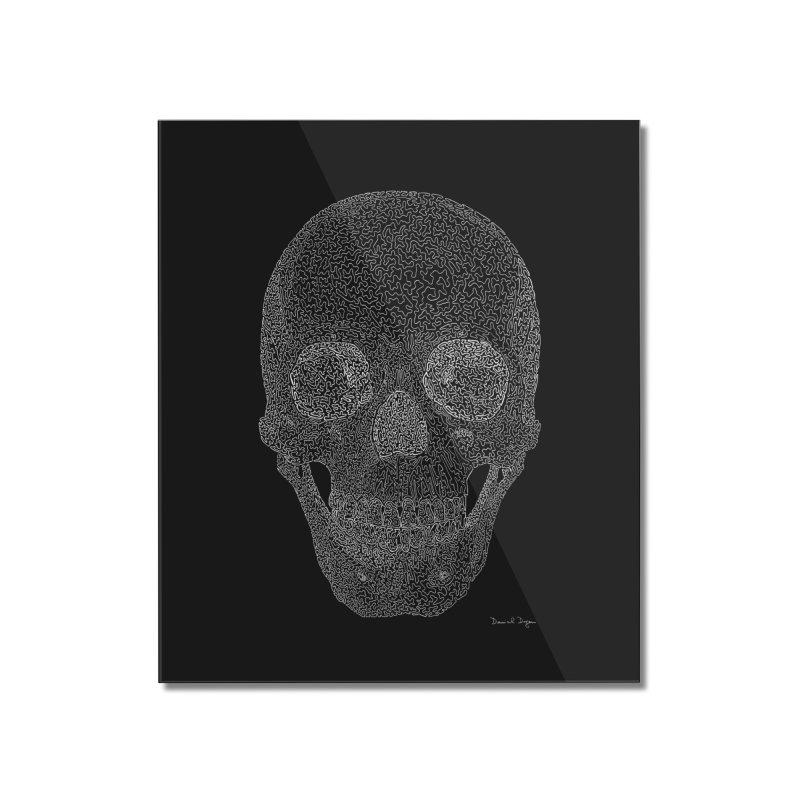 Skull (White) - One Continuous Line Home Mounted Acrylic Print by Daniel Dugan's Artist Shop