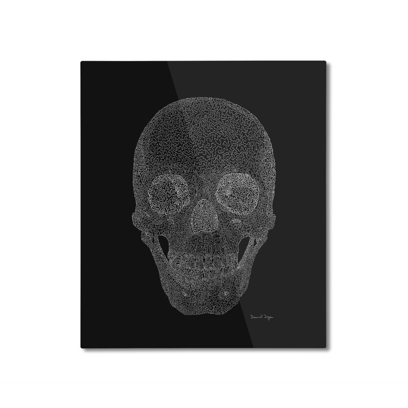 Skull (White) - One Continuous Line Home Mounted Aluminum Print by Daniel Dugan's Artist Shop