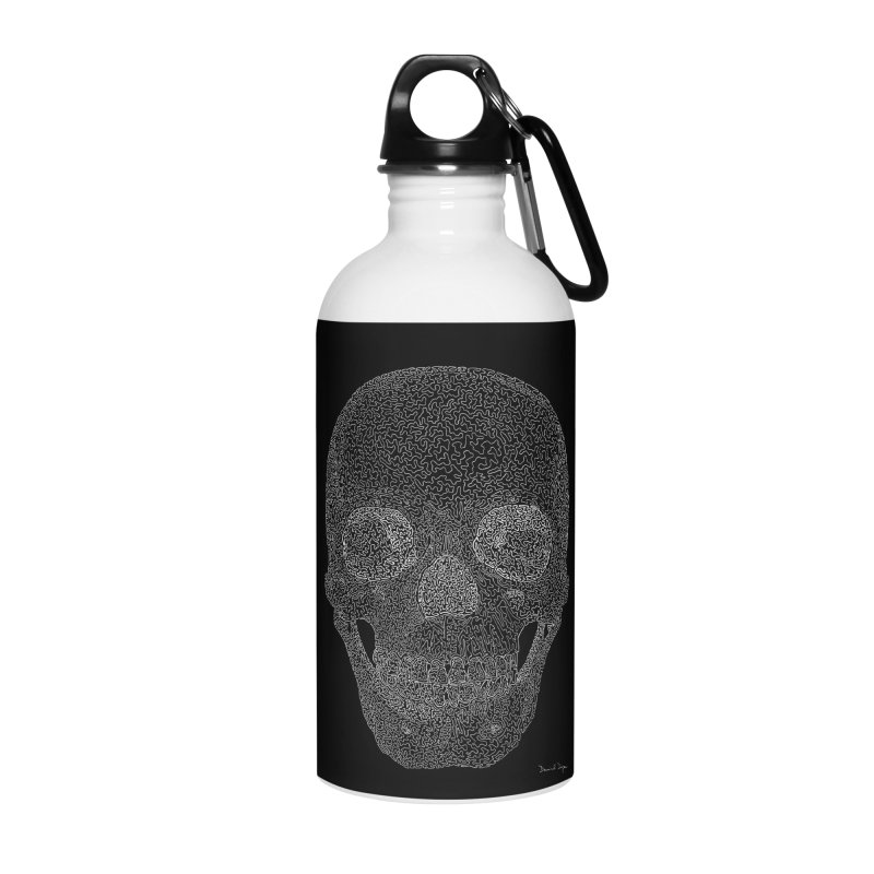 Skull (White) - One Continuous Line Accessories Water Bottle by Daniel Dugan's Artist Shop