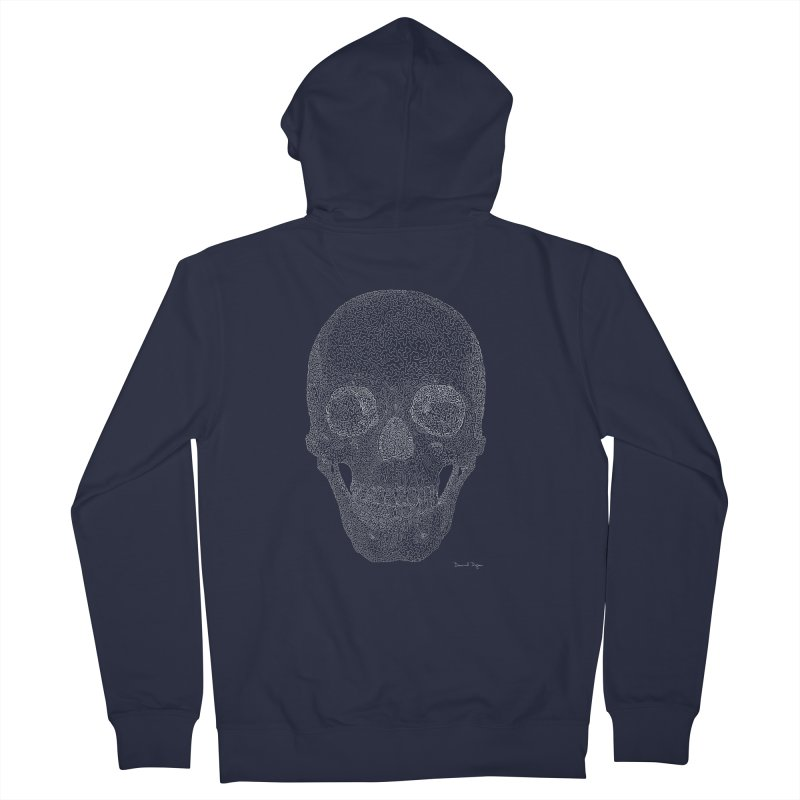 Skull (White) - One Continuous Line Women's French Terry Zip-Up Hoody by Daniel Dugan's Artist Shop