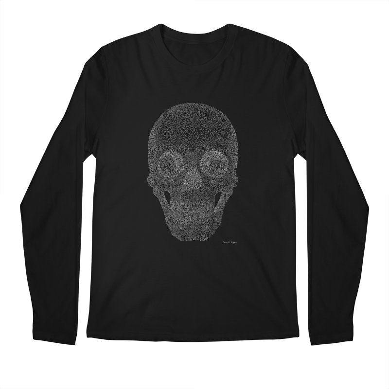 Skull (White) - One Continuous Line Men's Longsleeve T-Shirt by Daniel Dugan's Artist Shop