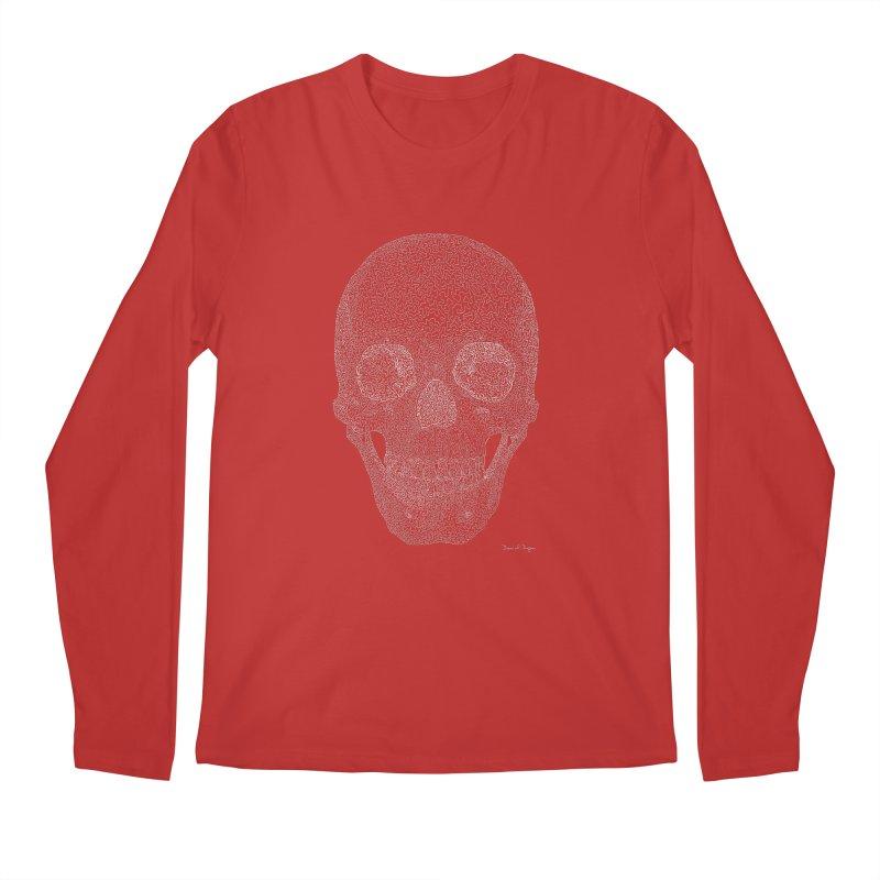 Skull (White) - One Continuous Line Men's Longsleeve T-Shirt by Daniel Dugan's Artist Shop