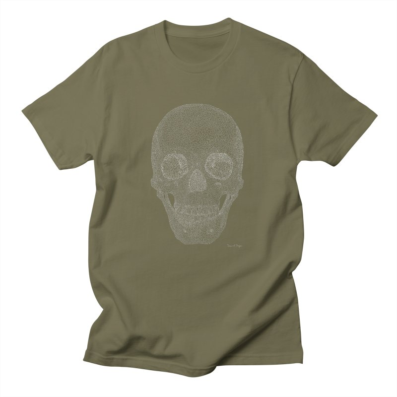 Skull (White) - One Continuous Line Men's Regular T-Shirt by Daniel Dugan's Artist Shop