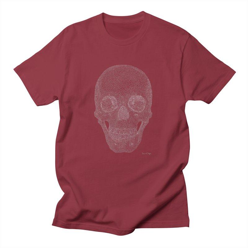 Skull (White) - One Continuous Line Women's Regular Unisex T-Shirt by Daniel Dugan's Artist Shop