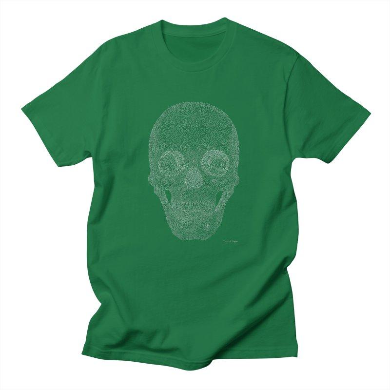 Skull (White) - One Continuous Line Women's Unisex T-Shirt by Daniel Dugan's Artist Shop