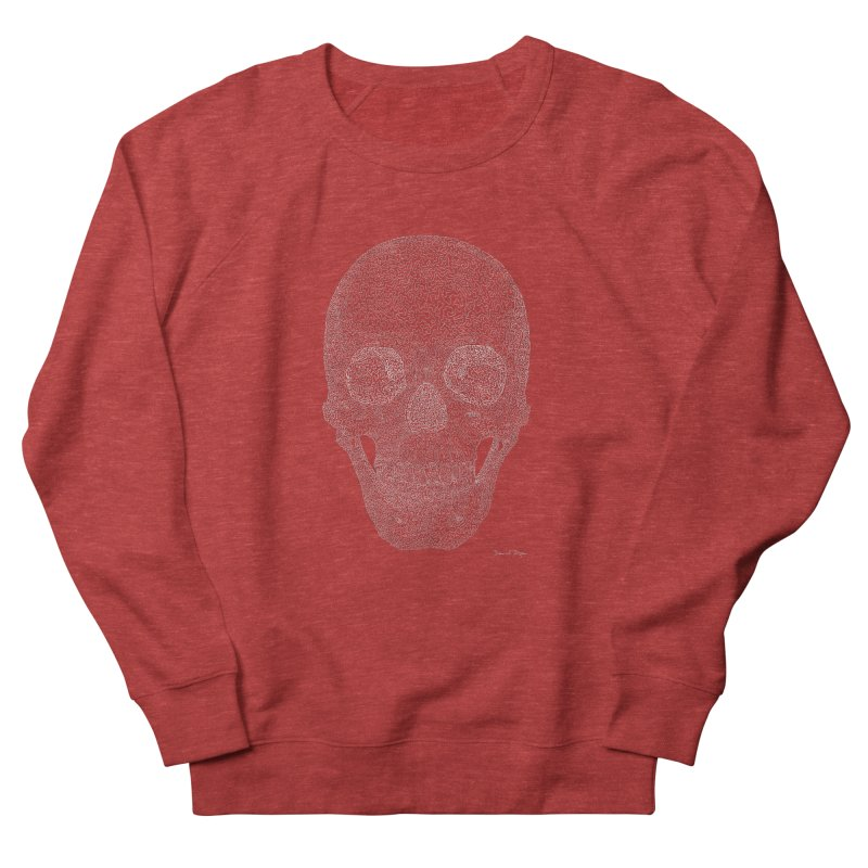 Skull (White) - One Continuous Line Men's French Terry Sweatshirt by Daniel Dugan's Artist Shop