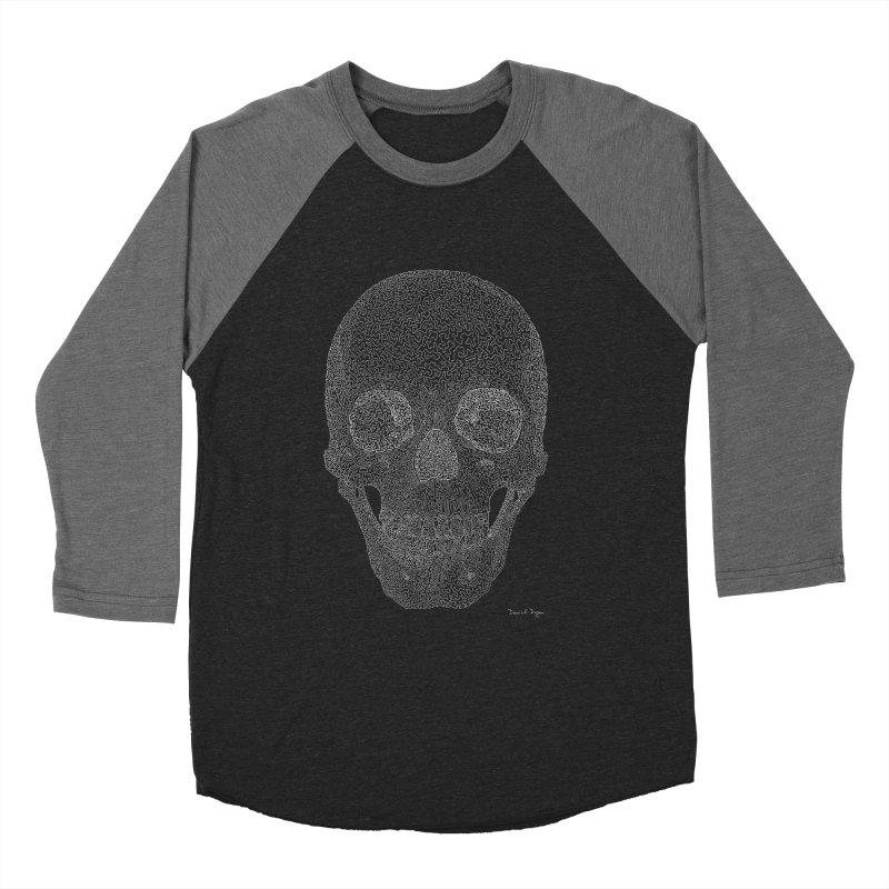 Skull (White) - One Continuous Line Women's Baseball Triblend T-Shirt by Daniel Dugan's Artist Shop