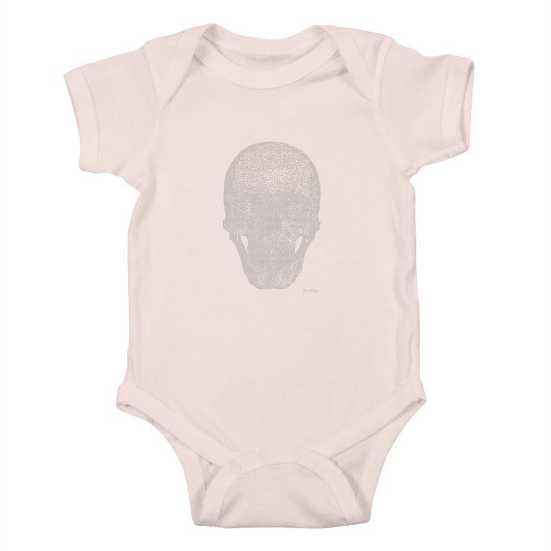 Skull (White) - One Continuous Line Kids Baby Bodysuit by Daniel Dugan's Artist Shop