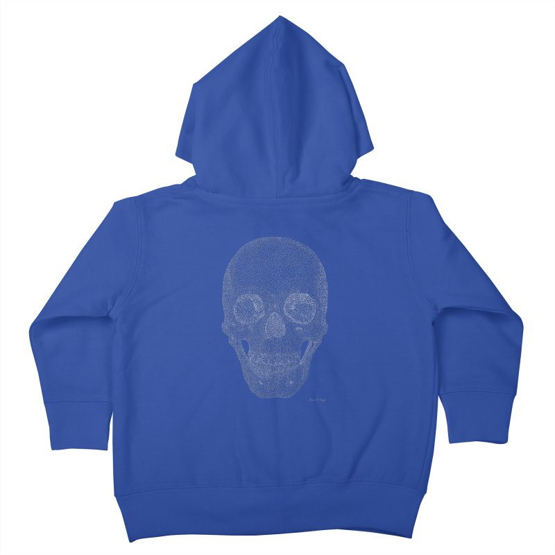 Skull (White) - One Continuous Line Kids Toddler Zip-Up Hoody by Daniel Dugan's Artist Shop