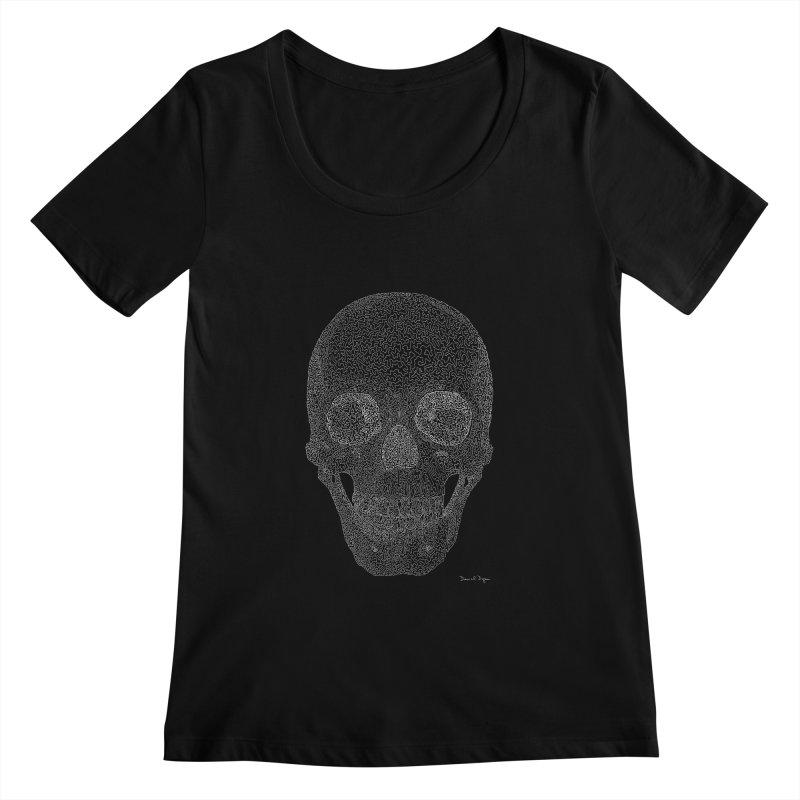 Skull (White) - One Continuous Line Women's Scoopneck by Daniel Dugan's Artist Shop
