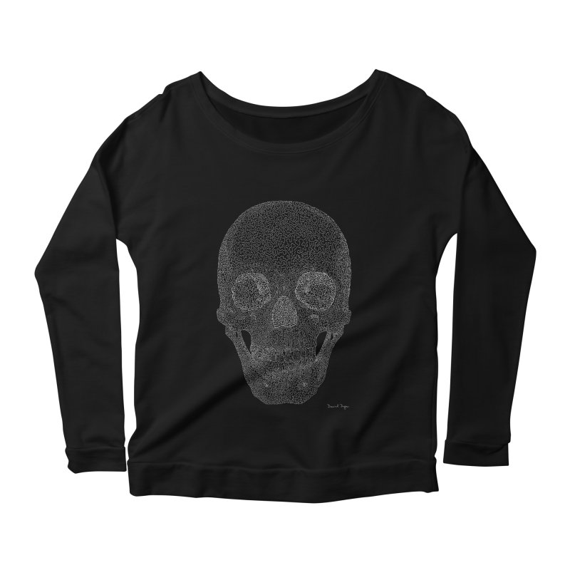 Skull (White) - One Continuous Line Women's Longsleeve Scoopneck  by Daniel Dugan's Artist Shop