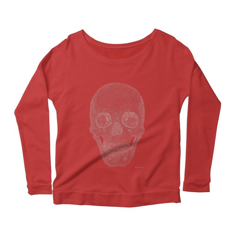 Skull (White) - One Continuous Line Women's Longsleeve Scoopneck  by Daniel Dugan's Artist Shop