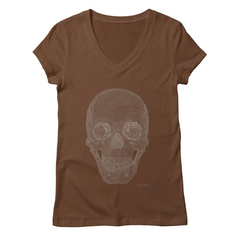 Skull (White) - One Continuous Line Women's Regular V-Neck by Daniel Dugan's Artist Shop